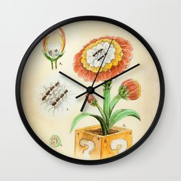 Fire Flower Botanical Illustration Wall Clock