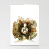 erykah badu Stationery Cards featuring Erykah Badu by Allison Kunath