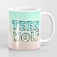 teen wolf Mugs featuring TEEN WOLF by Sara Eshak