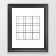 White Grid Framed Art Print