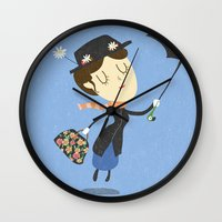 mary poppins Wall Clocks featuring Mary Poppins by Rod Perich
