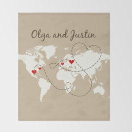 Personalized World Map Love Story Throw Blanket