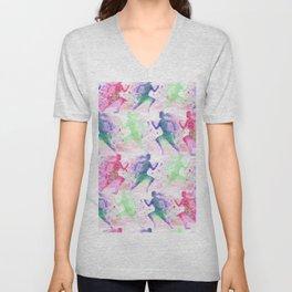 Watercolor women runner pattern Unisex V-Neck
