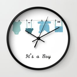 It's a boy. Welcome, baby arrival body suits Wall Clock