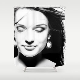 Portrait of a dreamy girl. Shower Curtain