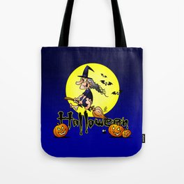 Halloween, witch on a broom, bats and pumpkins Tote Bag