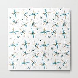 North Star Atomic Sparkle Mid Century Modern Dinnerware Design Metal Print