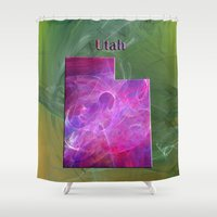 utah Shower Curtains featuring Utah Map by Roger Wedegis