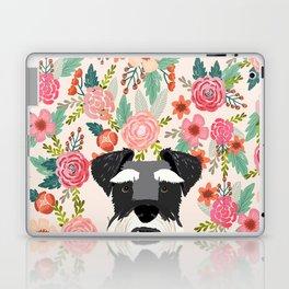 Schnauzer dog head floral background flower schnauzers pet portrait Laptop & iPad Skin