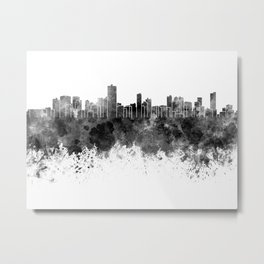 Salvador de Bahia skyline in black watercolor on white background Metal Print