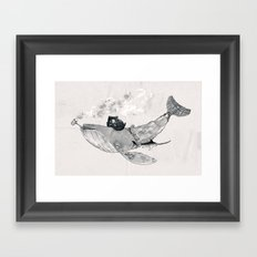 Pirate Whale (black/white option) Framed Art Print