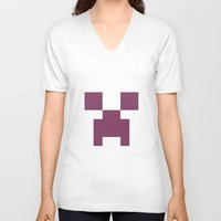 girly V-neck T-shirts featuring Girly creeper by lilacattack