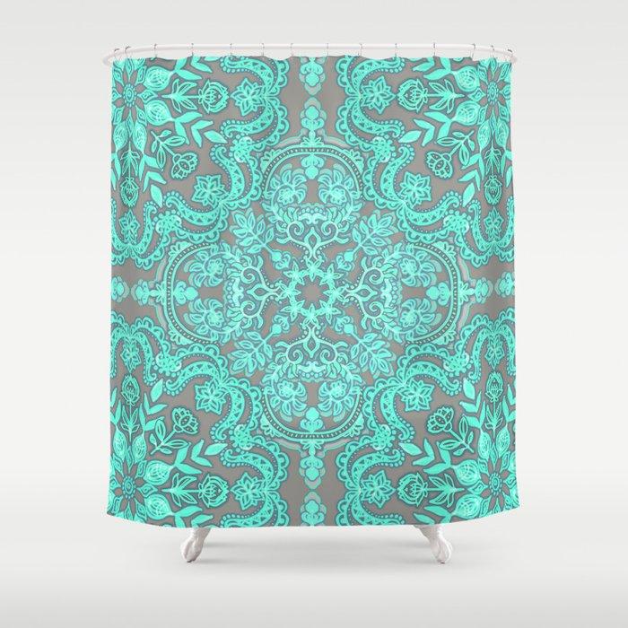 Mint Green Grey Folk Art Pattern Shower Curtain