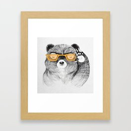 Hipster Bear Framed Art Print