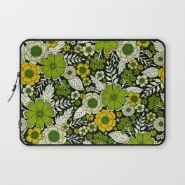 Modern Yellow & Green Floral Pattern Laptop Sleeve
