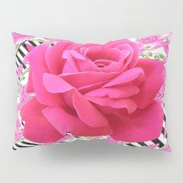 MODERN ABSTRACT CERISE PINK ROSE GARDEN  ART Pillow Sham