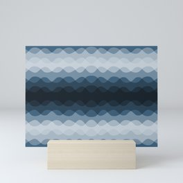 Mid Tone Ocean Blue Overlapping Wavy Line Pattern Pairs To 2020 Color of the Year Chinese Porcelain Mini Art Print
