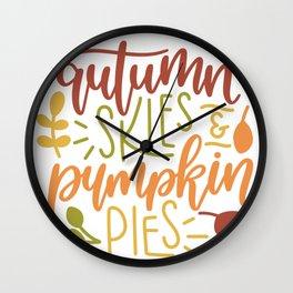 Autumn skies pumpkin pies Wall Clock