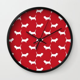 Basset Hound silhouette red and white dog art dog breed pattern simple minimal Wall Clock