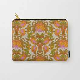 Orange, Pink Flowers and Green Leaves 1960s Retro Vintage Pattern Carry-All Pouch