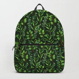 Eucalyptus on dark green Backpack