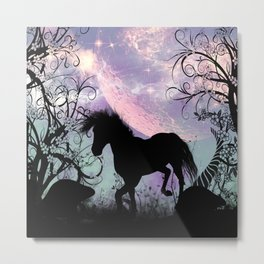 Black unicorn Silhouette Metal Print