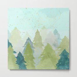 Merry Xmas- Teal Winter Forest Metal Print
