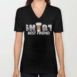 Kurzer bester Freund Kaffee Geschenk Unisex V-Neck
