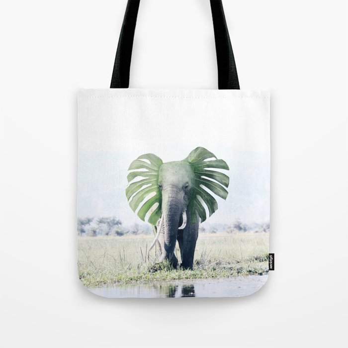 Monstera Elephant Tote Bag