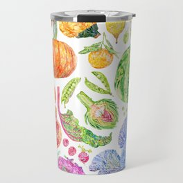Rainbow of Fruits and Vegetables Travel Mug