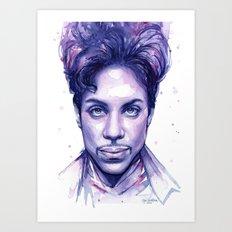 Prince Purple Watercolor Rain Art Print