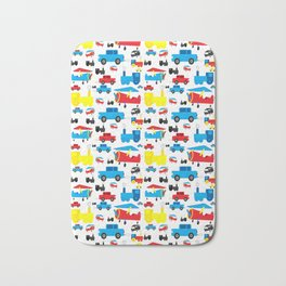 Cute Colorful Planes, Trains and Cars Pattern Bath Mat