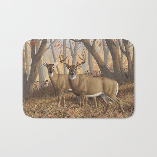 Whitetail Deer Trophy Buck and Doe in Autumn Bath Mat