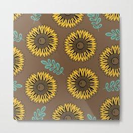 Sunflowers, Foral Pattern - Brown Metal Print
