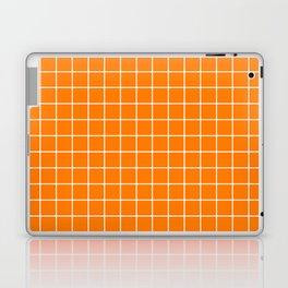 Heat Wave - orange color - White Lines Grid Pattern Laptop & iPad Skin