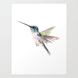 flying little hummingbird art print