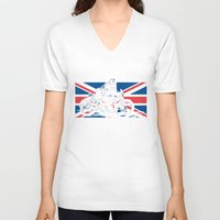 cafe racer V-neck T-shirts featuring NORTON TT RACER | DARK by Ernie Young