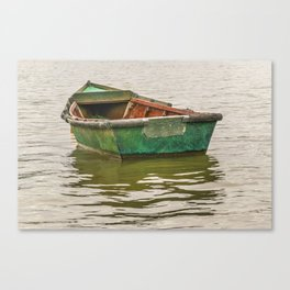 Lonely Old Fishing Boat at Santa Lucia River in Montevideo, Uruguay Canvas Print