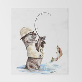 """ Natures Fisherman "" fishing river otter with trout Throw Blanket"