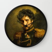 dylan Wall Clocks featuring Bob Dylan - replaceface by replaceface
