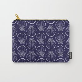 Scallop sea shells illustration. White and navy blue. Summer ocean beach print. Carry-All Pouch