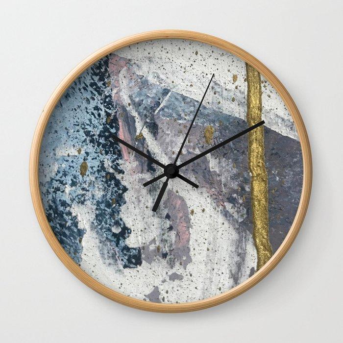 To the Mountains: a minimal abstract mixed-media piece by Alyssa Hamilton Art Wall Clock