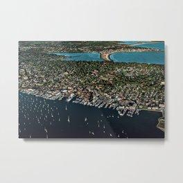 Newport Harbor, Aquidneck Island, Newport Rhode Island Aerial Photograph Metal Print