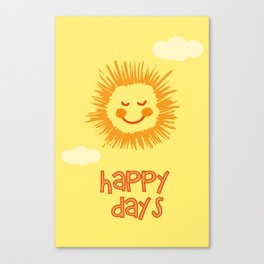 Happy Days Sign, Nursery Wall Art, Nursery Art Print, Kids room print, Sun wall art Canvas Print