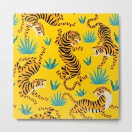 Yellow Tiger Tropical Pattern Metal Print