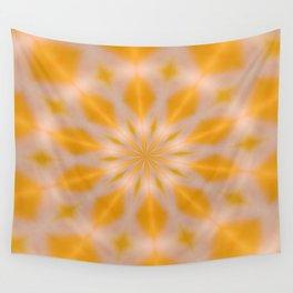Orange Starburst Kaleidoscope Wall Tapestry