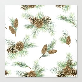 pine branches and cones pattern Canvas Print