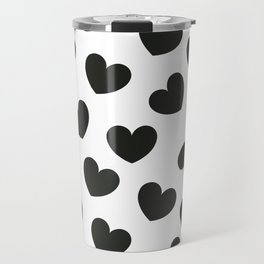 Black & white hearts pattern Travel Mug