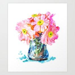 Watercolor Flower Pot Art Print