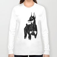 doberman Long Sleeve T-shirts featuring Doberman by Cassandra Jean